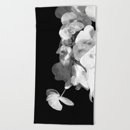White Orchids Black Background Beach Towel