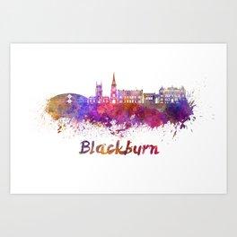 Blackburn skyline in watercolor Art Print