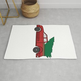 """Funny and cute """"Santa's Jeep Christmas Tree"""" Makes a nice and awesome gift for everyone this holiday Rug"""