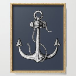 Blue Nautical Anchor Serving Tray