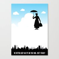 mary poppins Canvas Prints featuring mary poppins by notbook