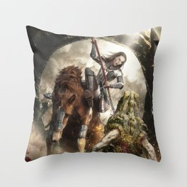 Saint Georgine and the Dragon Throw Pillow