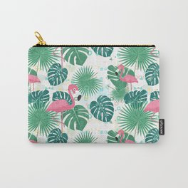 Pink flamingos and green palm leaves pattern Carry-All Pouch