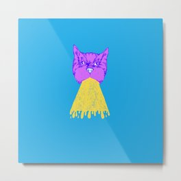 Cat Vomit - Purple Poot + Blue Background Metal Print