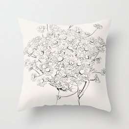 Flowers sketch art  -Daisy - Bouquet  Throw Pillow