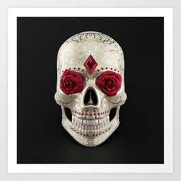 Calavera or Sugar Skull. Human skull decorated with roses, rubies and golden floral ornaments Art Print