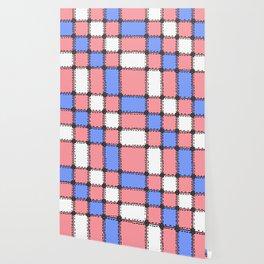 Vintage Style Quilt - Red, Blue, White - Doodle Art Wallpaper