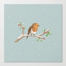 Robin on Branch Canvas Print