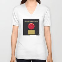 2001 a space odyssey V-neck T-shirts featuring No003 My 2001 A space odyssey 2000 minimal movie poster by Chungkong