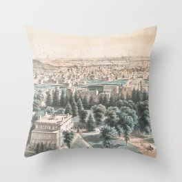 Vintage Pictorial Map of Newark NJ (1853) Throw Pillow