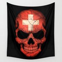 switzerland Wall Tapestries featuring Dark Skull with Flag of Switzerland by Jeff Bartels