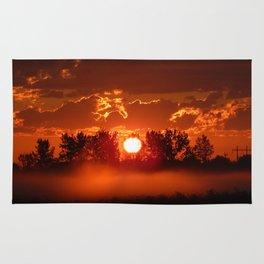 Flaming Horses over the Foggy Sunrise Rug