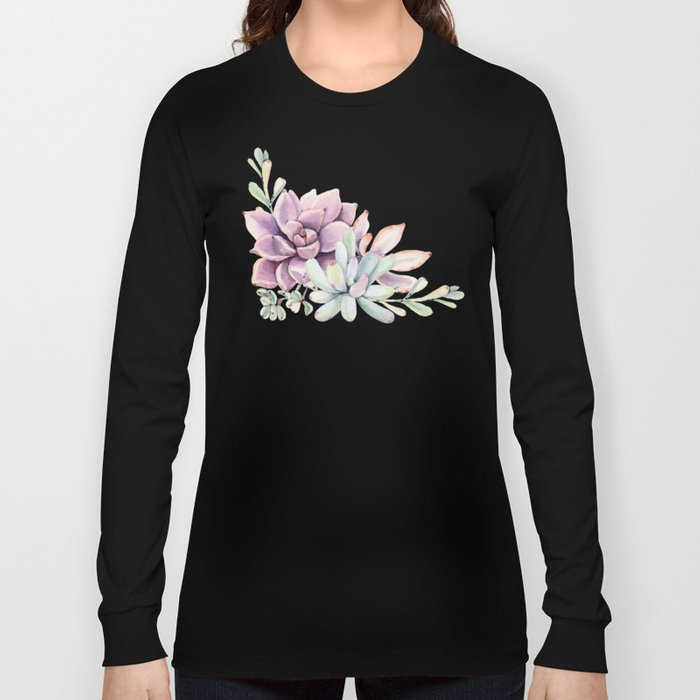 Desert Succulents on White Long Sleeve T-shirt