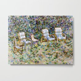 Secret Garden Chair Metal Print