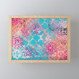 Mixed Media Layered Patterns - Turquoise, Pink & Coral Framed Mini Art Print