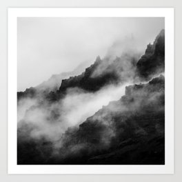 Foggy Mountains Black and White Art Print