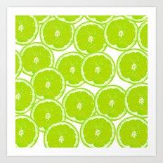 Summer Citrus Lime Slices Art Print