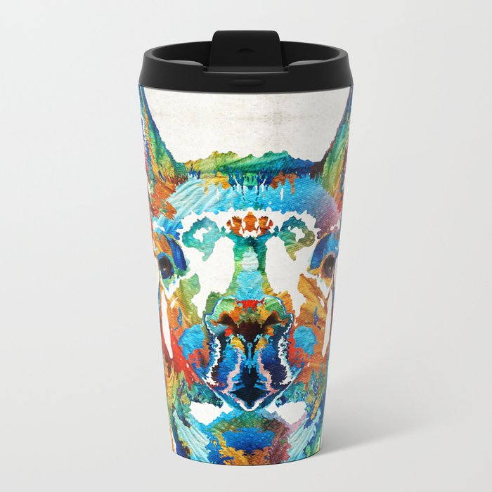 Colorful Llama Art - The Prince - By Sharon Cummings Metal Travel Mug