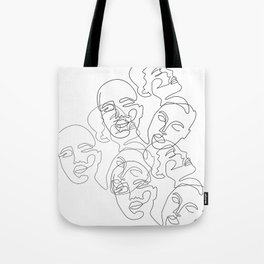 Lined Face Sketches Tote Bag