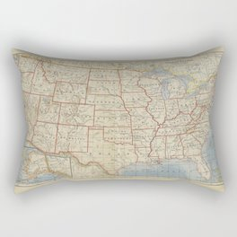 Old and Vintage Map of every States of The United States Of America Rectangular Pillow