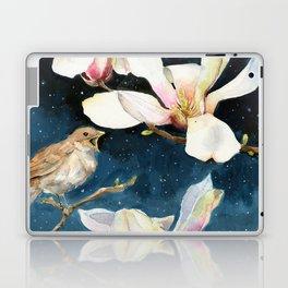 Night Music, Nightingale and Magnolias on Dark Sky, Stary Night Laptop & iPad Skin
