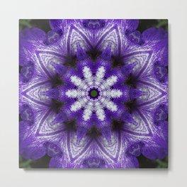 Glowing Violet Star - Iris Stepping Out Kaleidoscope Metal Print
