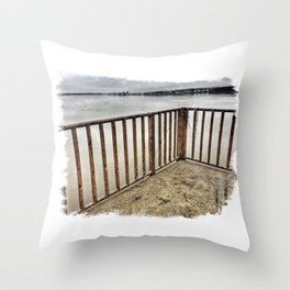 Lookout at Mississippi River, Illinois, Winter 2017 Throw Pillow