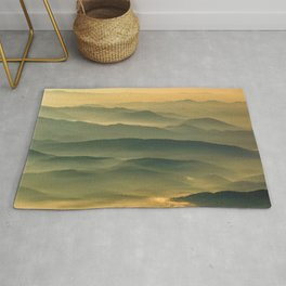 Foggy Mountain Layers at Sunset Rural / Rustic Landscape Photograph Rug