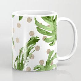 Simply Tropical White Gold Sands Dots and Palm Leaves Coffee Mug