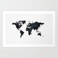 World Map in Black and White Ink on Paper Globe Map Tapestry Art Print
