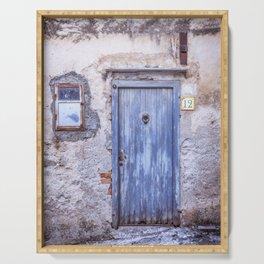 Old Blue Italian Door Serving Tray