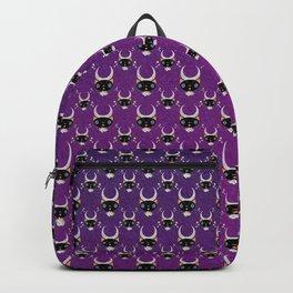 Lunar Cat Portrait on Violet Backpack