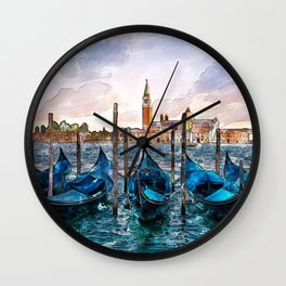 Gondolas in Venice Wall Clock