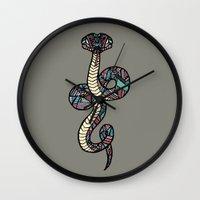 anaconda Wall Clocks featuring Anaconda by schillustration