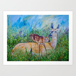 Deer Mom And Babe Art PRINT from Painting colorful ready to hang Gift Art Print