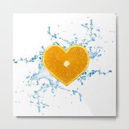 Slice of Heart Shaped Orange Metal Print