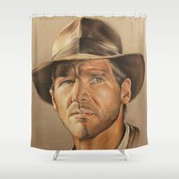 indiana Shower Curtains featuring Indiana Jones by Ashley Anderson