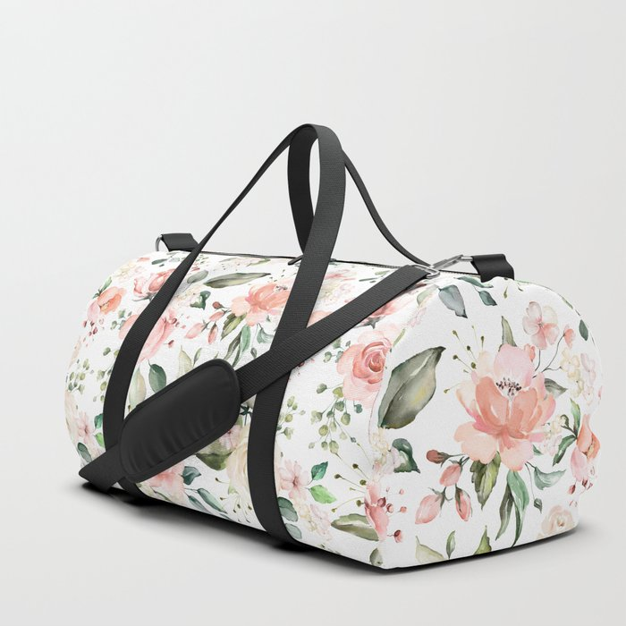 Sunny Floral Pastel Pink Watercolor Flower Pattern Duffle Bag