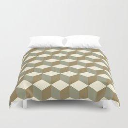 Diamond Repeating Pattern In Meerkat Brown and Grey Duvet Cover