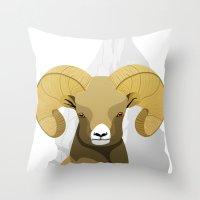 ram Throw Pillows featuring Ram by Porto881