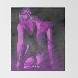 Beautiful Young Woman Wearing Plaits and Panties (Purple) Throw Blanket