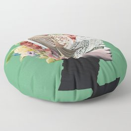 Lady with Birds(portrait) 2 Floor Pillow