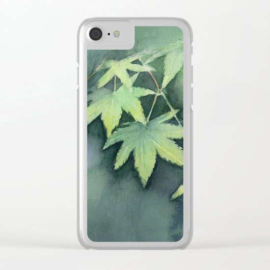 Japanese Maple Watercolor, Green Leaves, Tree Branch Clear iPhone Case