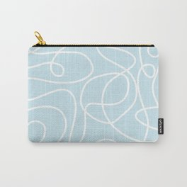 Doodle Line Art   White Lines on Palest Blue Carry-All Pouch
