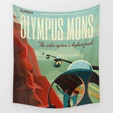 Vintage Adventure Travel Olympus Mons Wall Tapestry