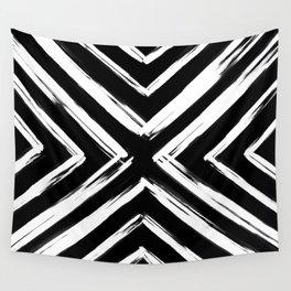 Minimalistic Black and White Paint Brush Triangle Diamond Pattern Wall Tapestry