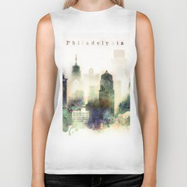 Philadelphia Pennsylvania Watercolor Skyline Biker Tank