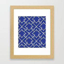 Bamboo Chinoiserie Lattice in Blue + White Framed Art Print