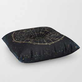 Golden Star Map Floor Pillow