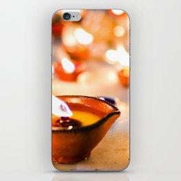 Diwali oil lamps iPhone Skin